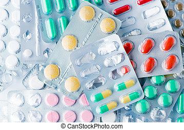 medicin, bakgrund, av, biljard, och, lertavlor, närbild