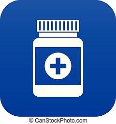 medicin, blå, ikon, flaske, digitale