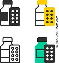 medicin, blåsa, flaska, pill