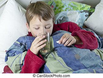 medicin, cama, niño joven, el suyo, toma