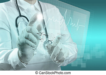 medicin, doktor, arbejder, hos, moderne, computer