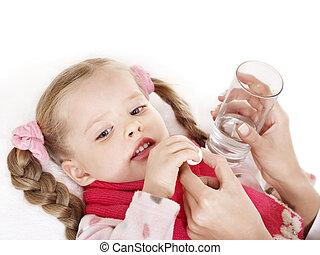 medicin, holde, syg barn