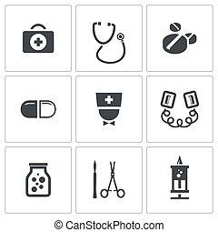 medicin, kollektion, ikonen