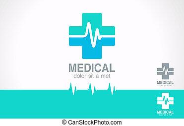medicin, kors, logo., apotek, logotype., kardiogram, concept.