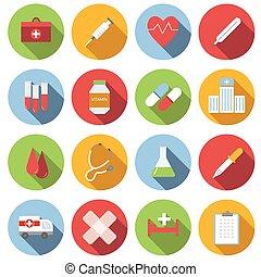 medicin, lägenhet, sätta, runda, ikon