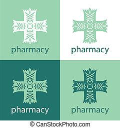 medicin, logo, grön