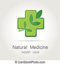 medicin, logo, naturlig