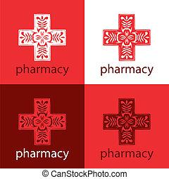 medicin, logo, röd