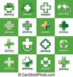 medicin, logos, vektor, samling, størst
