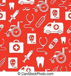 medicin, mönster, vektor, seamless