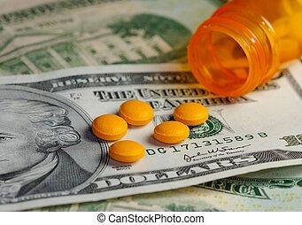 medicin, og, penge