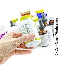 medicin, räcka buteljera, hand