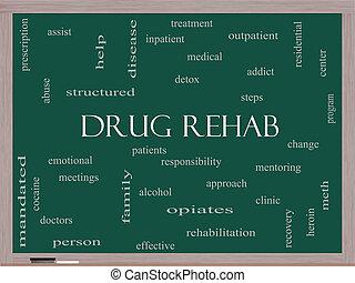 medicin, rehab, glose, sky, begreb, på, en, sort vægtavle