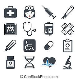 medicin, sätta, ikonen