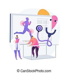 medicin, sport, illustration., begrepp, abstrakt, vektor