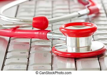 medicin, understøttelse, det, online