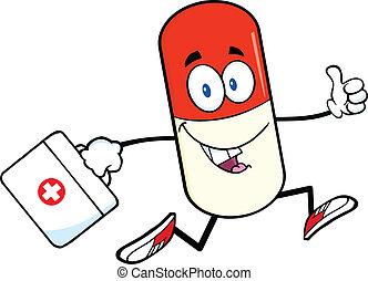 medicin väska, kapsel, pill