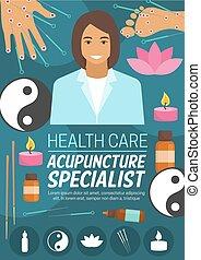 medicina, acupuntura, ou, spa, doutor