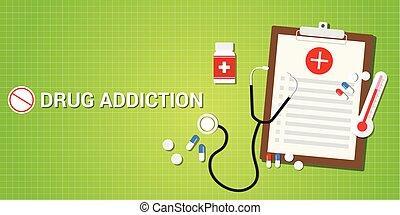 Medicina,  addication, concepto, píldoras, droga