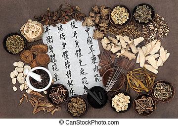 medicina, alternativa, chino