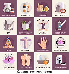 medicina alternativa, iconos, conjunto