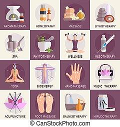 medicina, alternativa, jogo, ícones