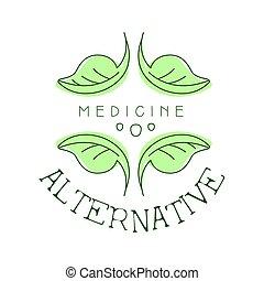 medicina alternativa, logotipo, símbolo, vetorial, ilustração