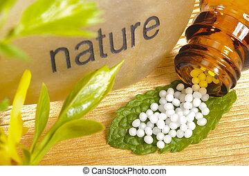 medicina, alternativa, pílulas, natureza
