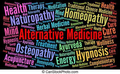 medicina, alternativa, palabra, nube