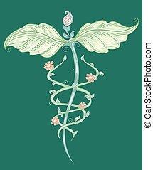 Medicina, alternativa, símbolo, Bosquejo