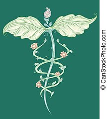 medicina, alternativa, Símbolo, Esboço
