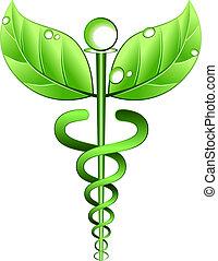medicina, alternativa, vettore, simbolo