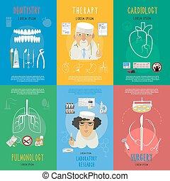 medicina, appartamento, icone, composizione, manifesto