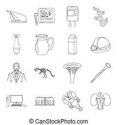 medicina, arte, cottura, e, altro, web, icona, in, contorno, style.army, cibo, salute, icone, in, set, collection.