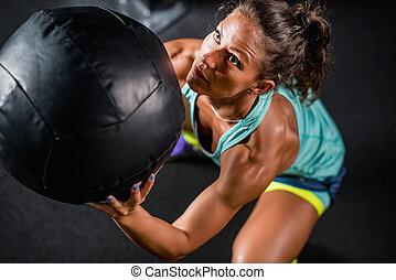 medicina, atleta, mulher, exercitar, bola