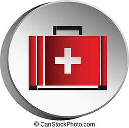 medicina, bag.symbol, de, iconos médicos, design.