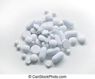 medicina, blanco, píldoras