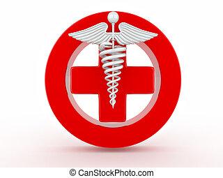 medicina, branca, isolado, fundo, sinal