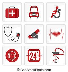 medicina, brezo, cuidado, iconos