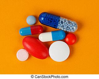 medicina, cápsulas, y, píldoras