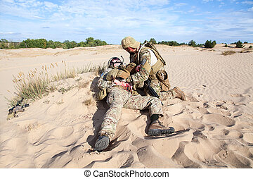 medicina, campo batalha, deserto