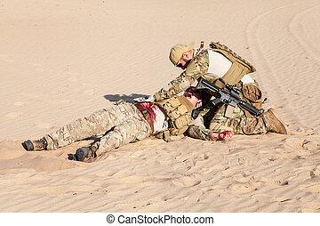 medicina, campo de batalla, desierto