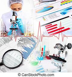 medicina, ciencia, y, empresa / negocio, collage