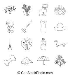 medicina, circo, viaggiare, e, altro, web, icona, in, contorno, style.beauty, moda, celebrazione, icone, in, set, collection.