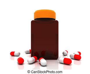 medicina, concept., derramado, píldoras, de, prescripción, bottle., 3d, rendido, ilustración
