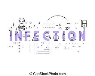 medicina, concepto, infección