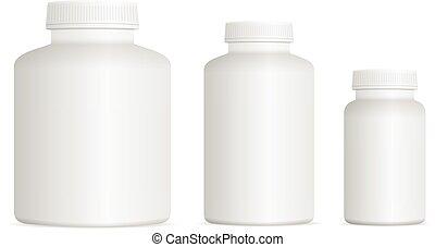 medicina, conjunto, botella de la píldora