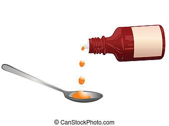 medicina, cucchiaio, vettore, bottiglia, illustrazione