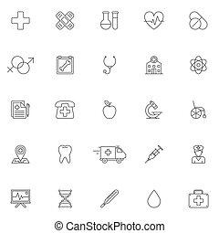 medicina, cuidados de saúde, ícones