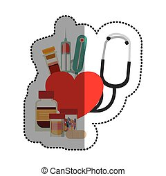 medicina, disegno, medico, stetoscopio, cura